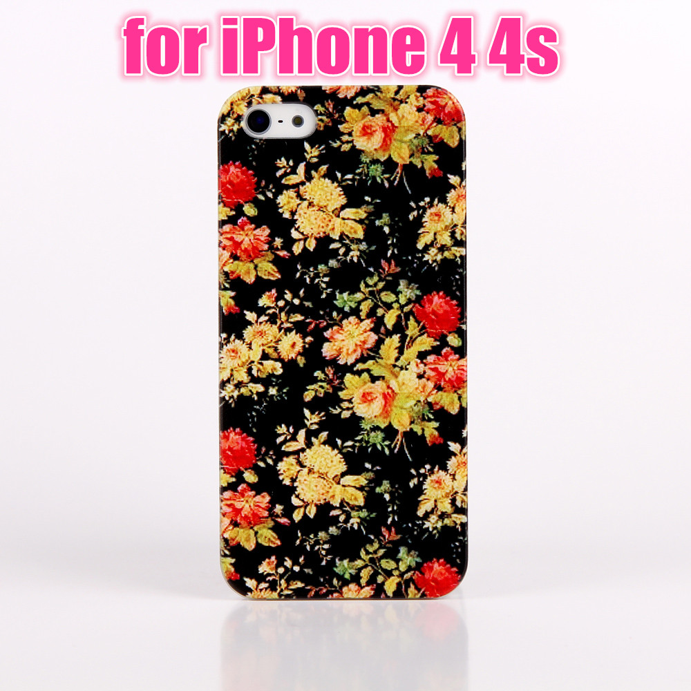 2016 Phone cases for For Apple IPhone 4 4S New Fashion Black Floral Coloful Simple Painted Pattern Back cover bags shell(China (Mainland))
