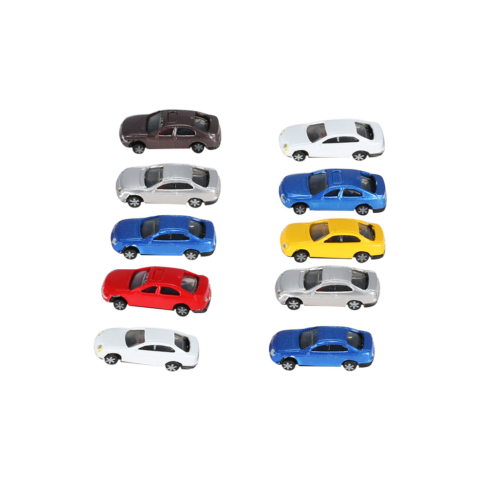 Colorful Model Car 10Pcs Flaring Light Model Cars Painted Head Light Model Car with Wire Miniature Train Layout 1:150 Scale(China (Mainland))