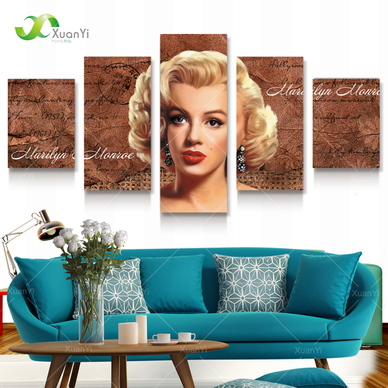 5 Panel Modern Canvas Prints Marilyn Monroe Canvas Art