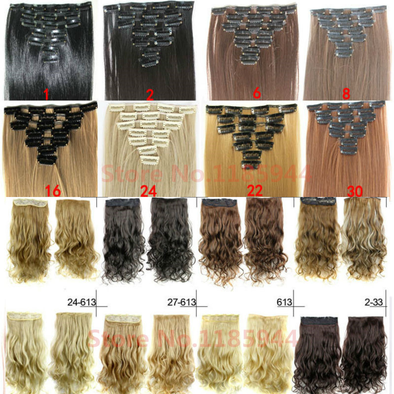 Long Clip in Hair Extensions Synthetic Clip in Hair Extension Straight Hair Heat Resistant Hair Pad 7 pcs set Black Brown Blonde(China (Mainland))