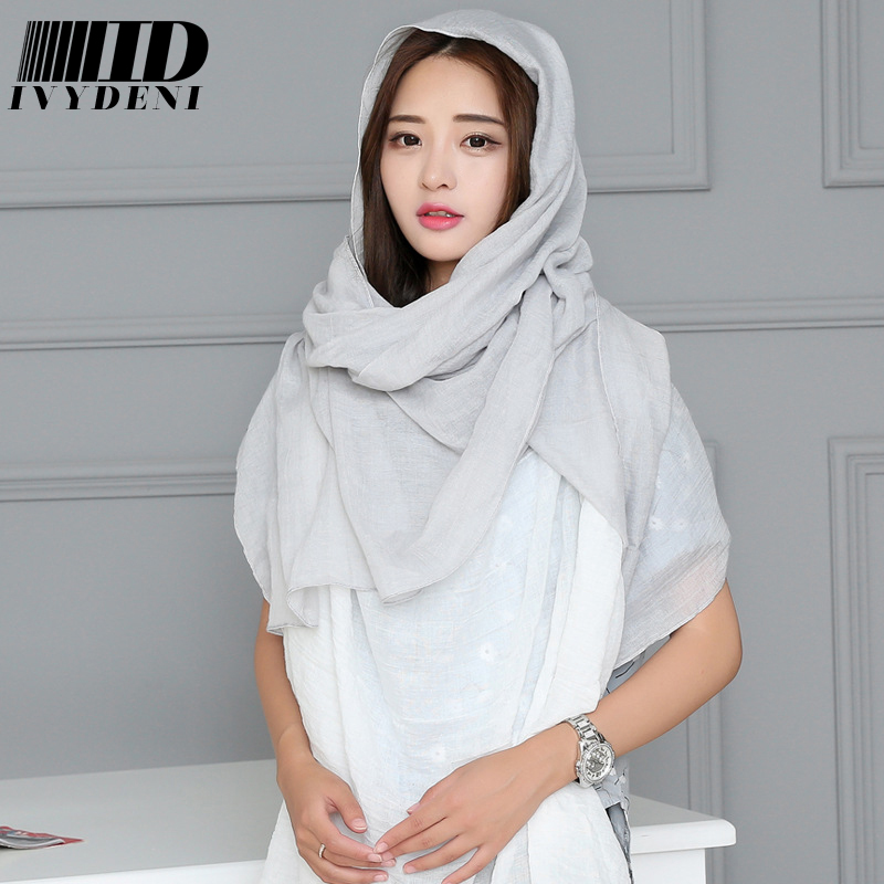 240*120cm Autumn Winter Jersey Hijab From India Women Linen Scarf Solid Color Oversized Warm Plain Cotton Scarf Wrap Bandanas(China (Mainland))
