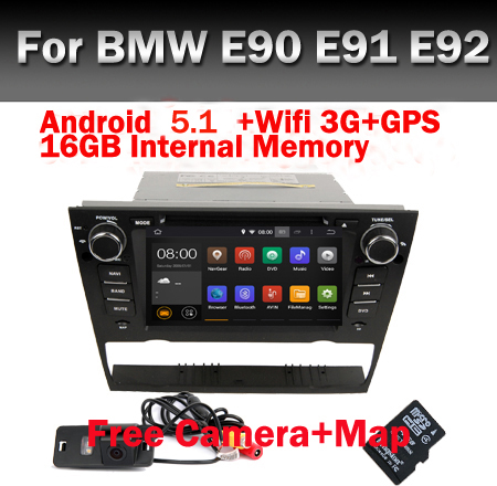 "7"" Quad Core 1024*600 HD Touch Screen Car DVD GPS for BMW E90 Android 5.1 Wifi 3G GPS Bluetooth Radio RDS Canbus Free Camera(China (Mainland))"
