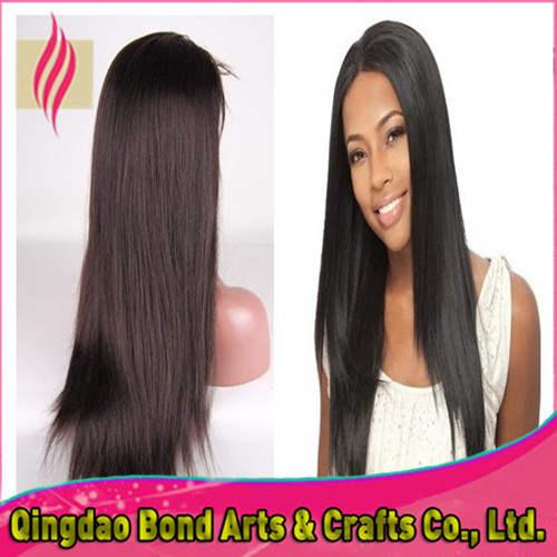 Fashion long straight 6A grade middle part virgin indian remy  full lace&front lace human hair wigs 130%density free shipping