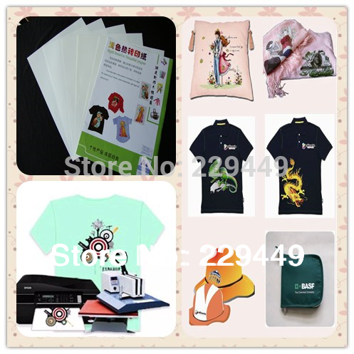 20pcsxa4 light inkjet heat transfer printing paper for t for Heat press decals for t shirts