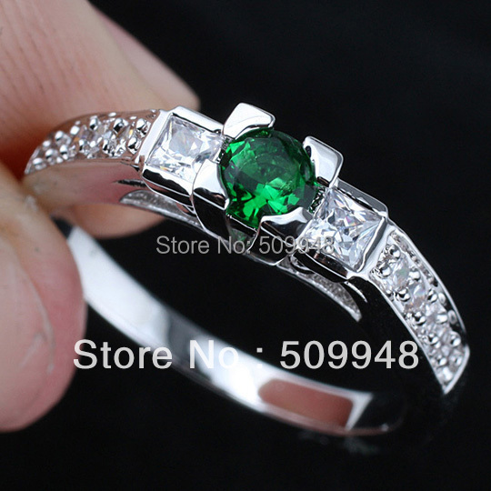 Lady 6 Line Round Sim. Green Emerald Anniversary Authentic .925 Sterling Silver Ring R146GE WED Size 6 7 8 9 Free shipping(China (Mainland))