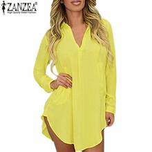 Zanzea Women Casual Loose Long Chiffon Shirts 2016 Spring Long Sleeve Lapel Sexy Blouses Tops Plus Size Mini Dress Vestidos(China (Mainland))