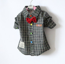 Wholesale retail striped boys infant plaid toddler cotton newborn baby shirts style stitching spring coat blouse bow tie
