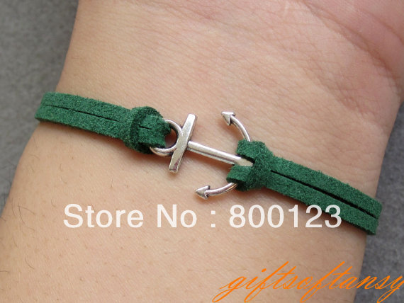 Anchor Bracelet-- Cute Silver Anchor Bracelet, Green Rope Bracelet, Best Gift for Friend-C392