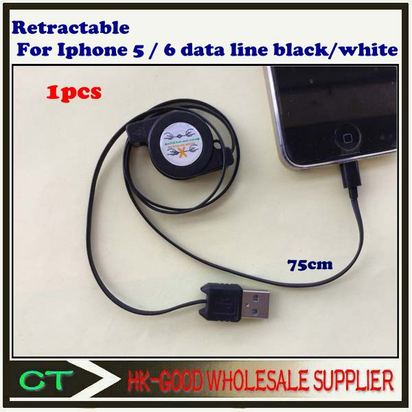 1pcs Retractable For iphone 5 / iphone6 cable (75 cm) Black/white Free shipping .CTT-70(China (Mainland))