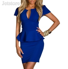 Top Quality Plus size M L XL XXL Women Lady Sexy Fashion U-neck OL Peplum Dress Bodycon Dresses Black Blue Pink White 28 8945(China (Mainland))
