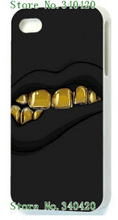 New Arrivals Fashion Style Hybrid Retail Sex Golden Lip White Mobile Phone Hard Cover Cases For IPHONE 5 5s Free Shipping