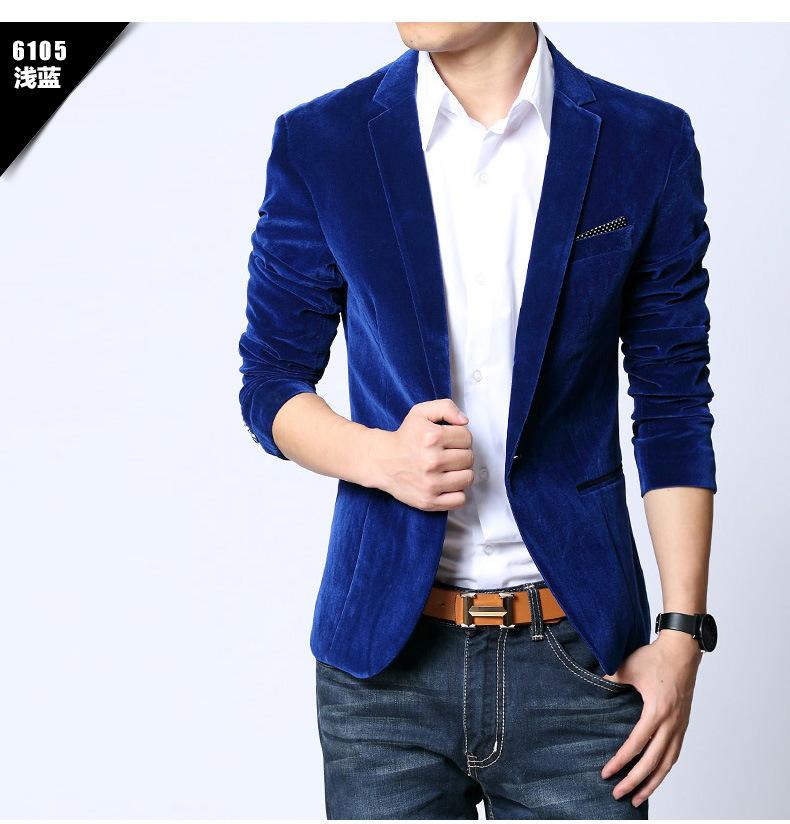 hot!Mens blazer slim fit suit jacket black navy blue velvet 2015 spring autumn outwear coat Suits For Men(China (Mainland))
