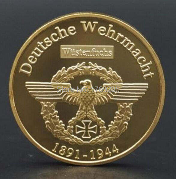 Ebay hotsales! Dhl free shipping 50pcs/lot 24k gold plated 1oz german coin,Commander Erwin Rommel War Coin(China (Mainland))