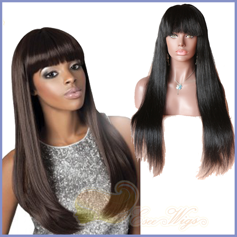 Hotsale Stock Yaki Straight 100 Human Remy Hair Lace Frontal Wig with Bangs for Black Women Full Lace Wig with Fringe(China (Mainland))