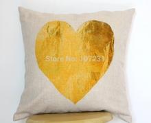 Vintage Golden Heart Printed Linen Pillow Cushion Cover Throw