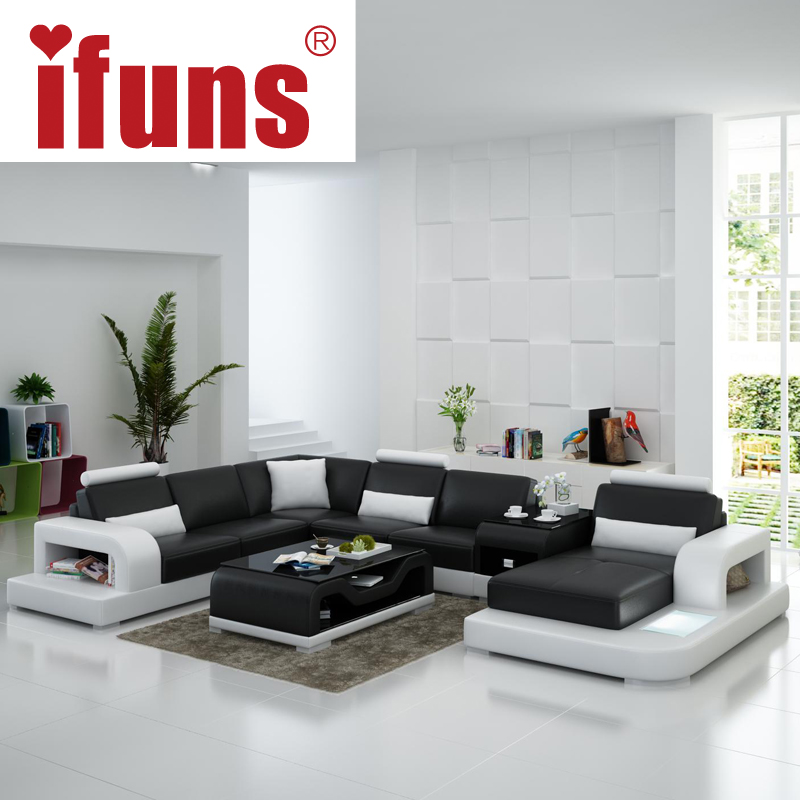 Ifuns modern design u shaped quality white leather for U shaped sofa in living room