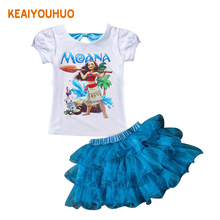 Buy Baby Girl Clothes 2017 New Summer Moana Cartoon print Sets Children girls Princess Dress + T shirt 2PCS Suits Kids Clothing for $2.66 in AliExpress store