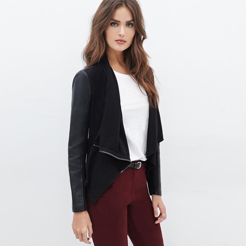 An Style Women Fashion Pu Jacket With Zipper Designed Wide Lapel Pu Patchwork Short Style Long Sleeve Slim Waist Coat(China (Mainland))