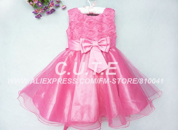 Kids Hot Pink Prom Dresses Party Dress Chlidren's Dance Wear Toddler Pageant Dresses Big Bownot Flower Girl Dress(China (Mainland))