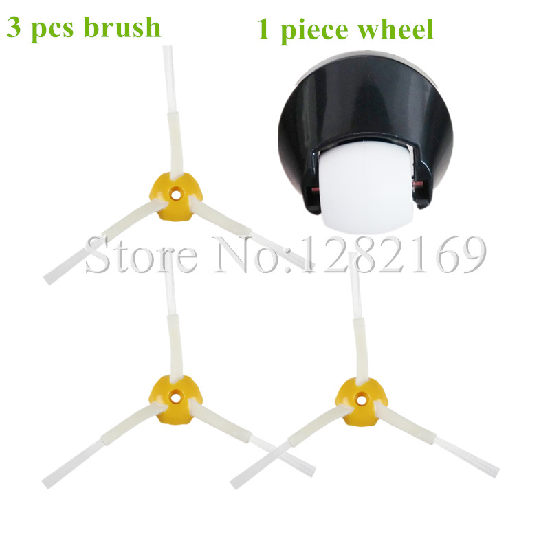 3x Brush + 1 Assembly Front Castor wheel Replacment for irobot roomba Vacuum Cleaner 500 600 700 800 series 560 620 650 770 780(China (Mainland))