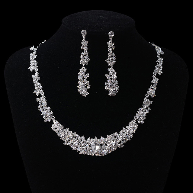 Hot sale Gorgeous Crystal bridal jewelry sets Charming Rhinestone Necklace set for Women Bride Wedding hair Accessories