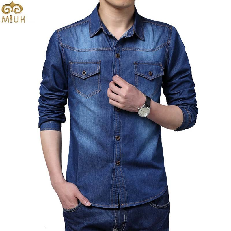 Plus Size Camiseta Masculina 5XL Cotton Slim Fit Brand Denim Shirts 2015 New Long Sleeve Blue Gray Chemise Homme(China (Mainland))