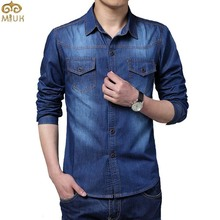 Big Size Men Shirt Denim Large Size 5XL Cotton Turn-down Collar Pockets Men Shirts 2015 New Autumn Long Sleeve Blue