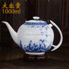 new 2015 elegant Blue and white Big ceramic teapot 1L chinese dragon porcelain kung fu tea