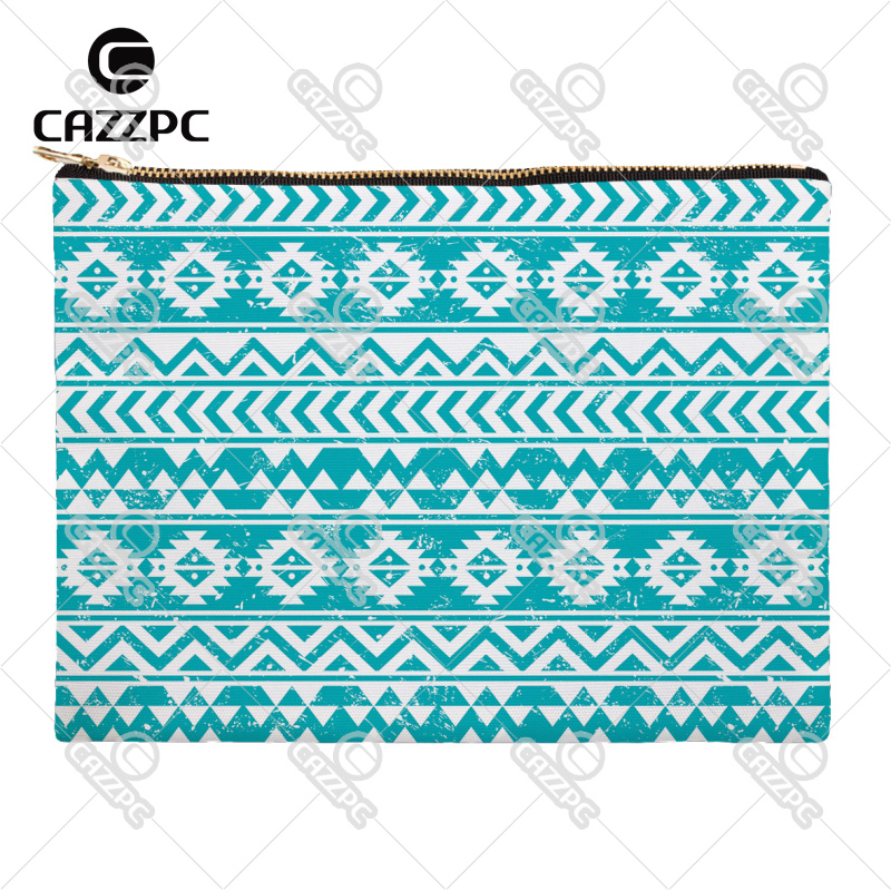 Turquoise Yellow Black Blue Tribal Ethnic Quilting Plaid Canvas Pattern Print Cosmetic Bag Makeup Pouch Wristlet Hand Bag(China (Mainland))