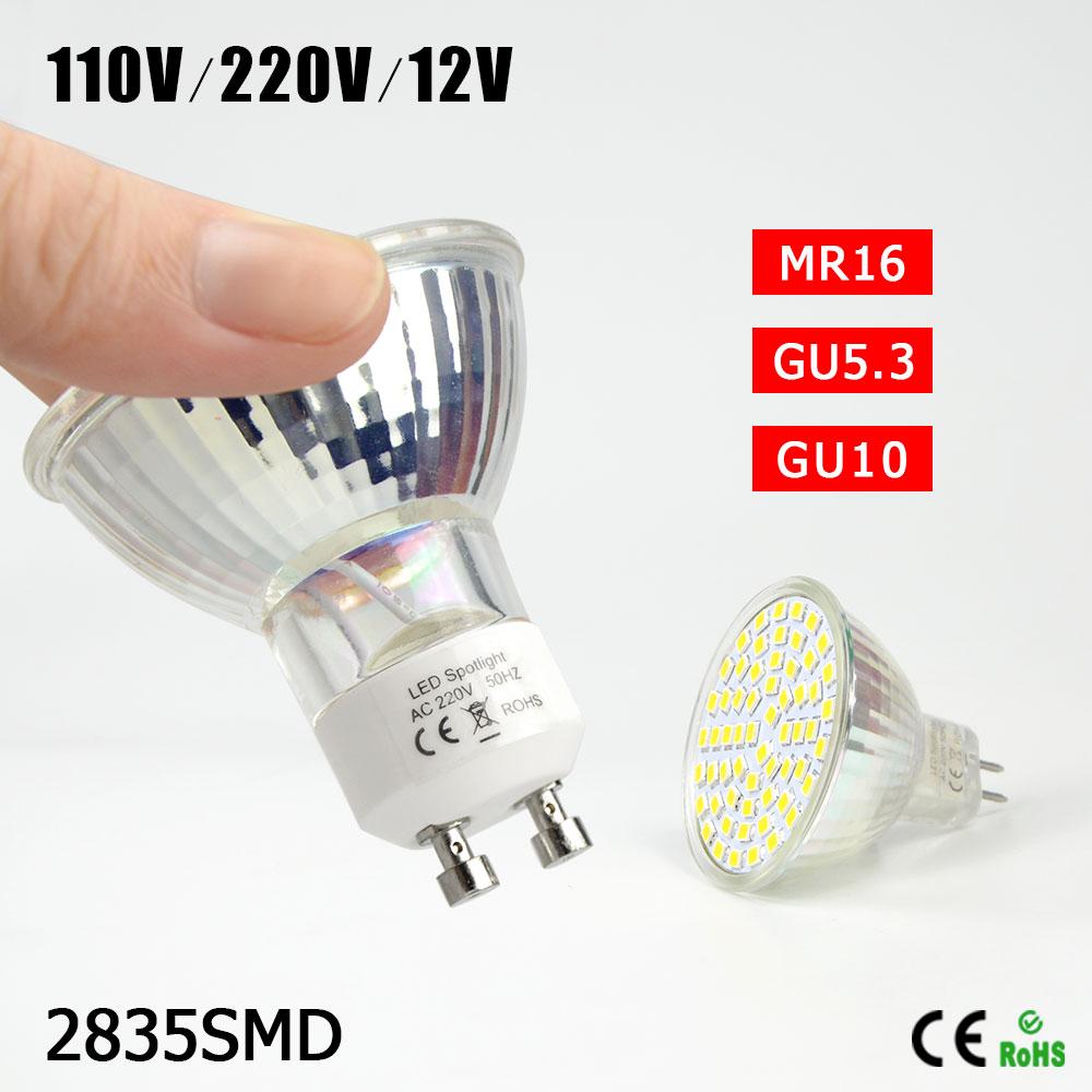 1Pcs Engergy Class A++ 7W 12V 220V 110V GU10 MR16 GU5.3 LED lamp Heat Resistant Glass Body 2835SMD 60 LED Spotlight Bulb light(China (Mainland))