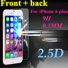 """Front + back 9H 0.3mm Premium Tempered Glass For iPhone 6 plus 5.5"""" 2.5D screen protector guard film case cover free shipping"""