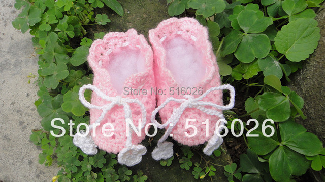 Handmade Crochet Baby Shoes Flower footwear kids plain soft shoes girl princess lace pink bootie Newborn Gift Shoes
