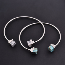 Natural Stone Charm Bracelets&Bangles Open Adjustable Gold Plated Box Turquoise Cuff Bangles For Women Or Men Jewelry Wholesale