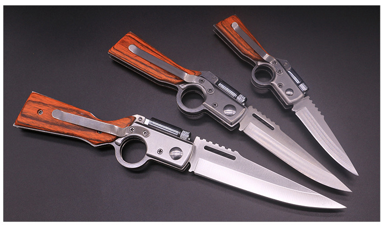 Hot sale LED light AK folding knife spring steel outdoor folding camping knife tactical carry multifunction knife