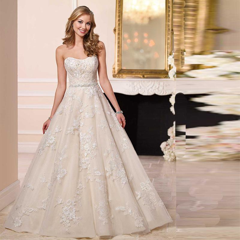 Классический Свадебное Платье Элегантный Vestido Noiva Decote V Линии Robe De Mariage Аппликации Пояса Foraml Длинные Свадебные Платья 2016