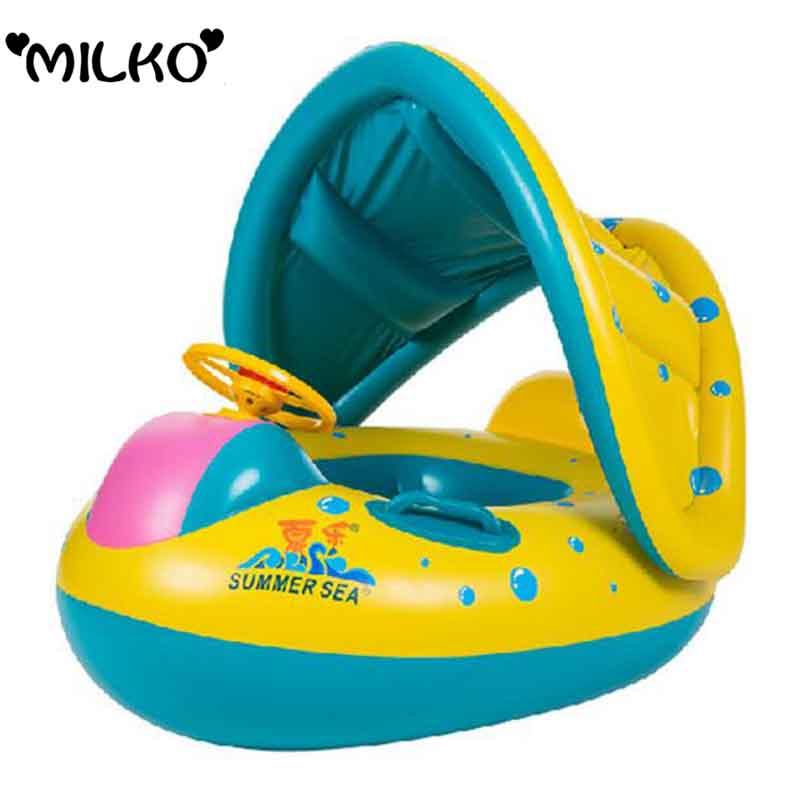 Baby Safety Inflatable Swimming Seat Sunshade Boat Ring Kid Portable Swim Pool Accessories Inflant Swim Seat Laps Chair Seat(China (Mainland))