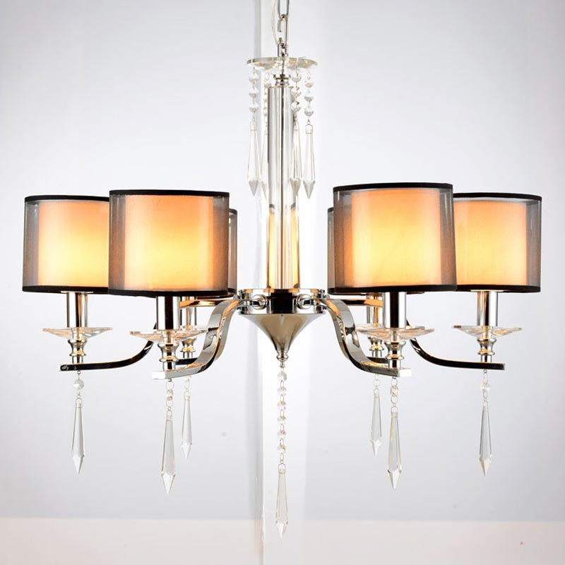 Modern K9 Crystal Chandelier for Bedroom Kitchen Living Room Fabric Lampshade Home Hanging Chandelier Lighting BLC6603(China (Mainland))