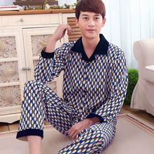 Men cotton turn-down collar long sleeve pajamas set nightgown,male boys blue red print plaid classic plaid pyjamas M-3XL MBF 129(China (Mainland))