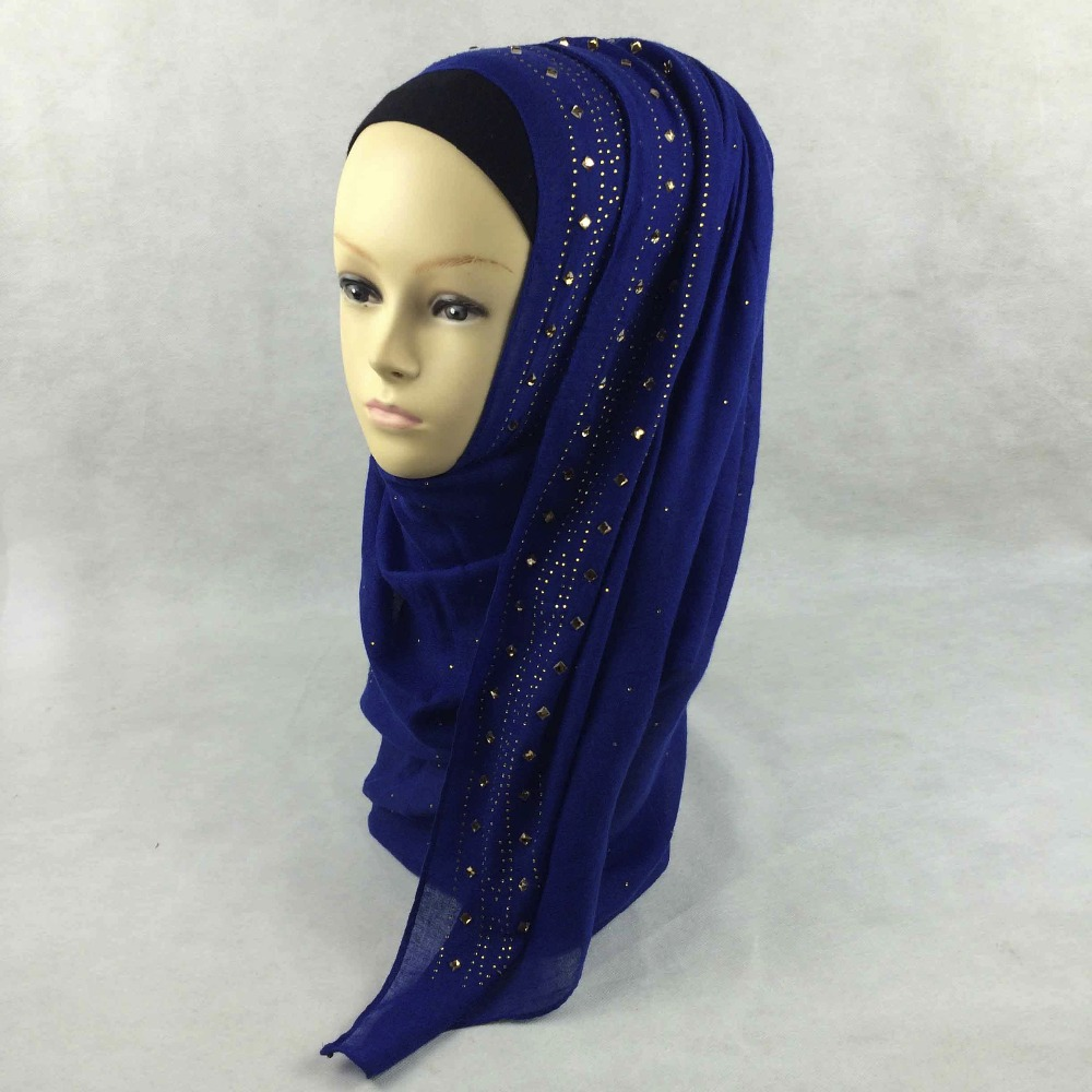 Wholesale Popular 10pcs/lot Long Cotton Women Rhinestone Crystal Muslim Hijabs Wrap Shawl Scarves can17(China (Mainland))