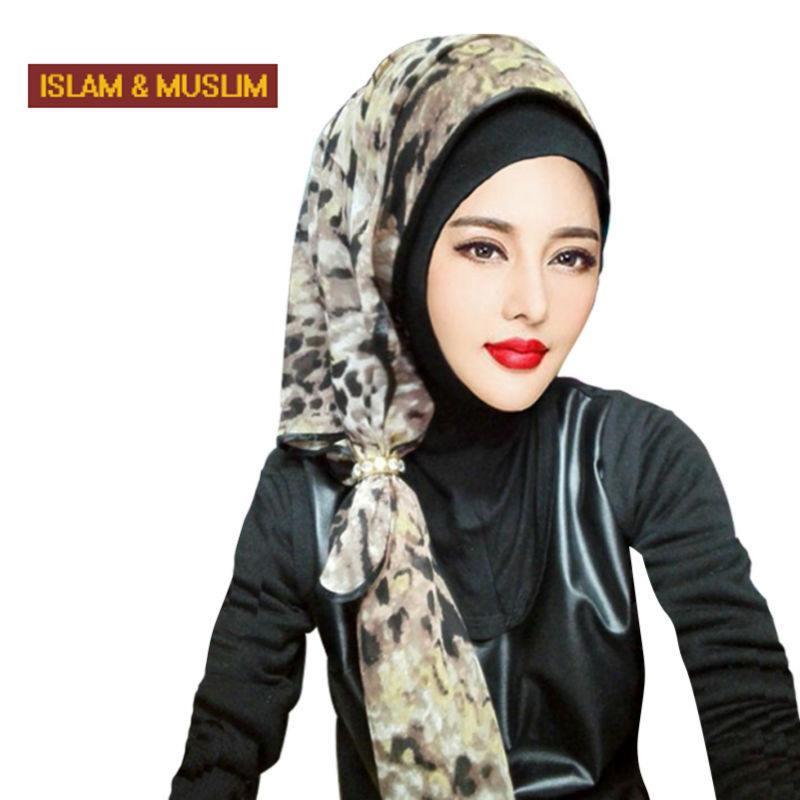 2016 New style headband islam fashion head scarf muslim women instant hijab square turban print chinffon shawl headband(China (Mainland))