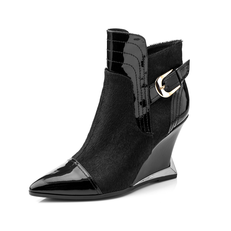 High Quality Woman Boots 2015 Autumn and Winter Fashion Metal Buckle Shoes with Pointed Slope Sexy High Heels Boots<br><br>Aliexpress