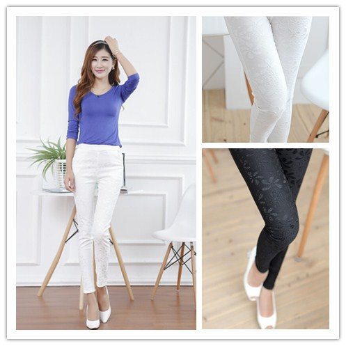 M-xl 2016 летние брюки женщин черный белый кружева крючком леггинсы высокое супер-эластичный ...