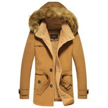 Men's Winter Big Fur Hooded Woolen Trench Slim Fit  Winter Woolen Overcoat For Men Outdoor Trench Men Winter Coat L-3XL  JK-342(China (Mainland))