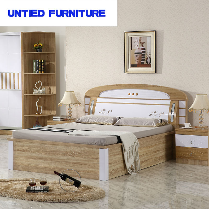 MDF White High Gloss Furniture Bedroom Set Furniture Bed,Contemporary hot selling modern design king size wooden bed(China (Mainland))