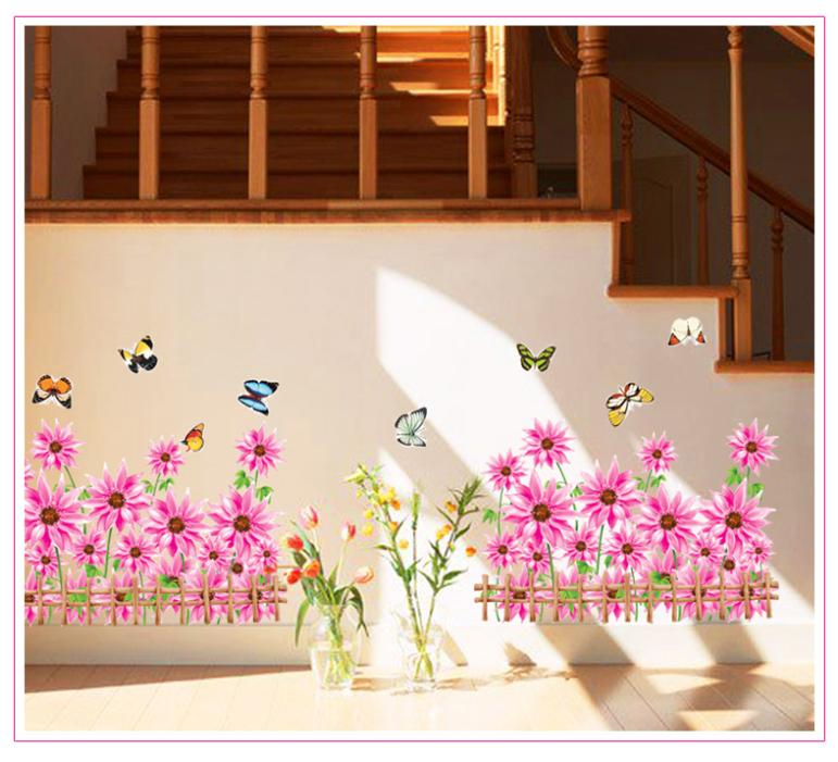 Free shipping Dream Garden home decoration Flower Butterfly wall sticker decals Grass Fencer ZYPB-766AB(China (Mainland))