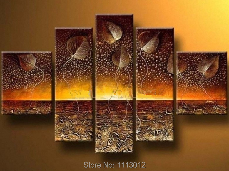 Hot brown tree oil painting on canvas 5 pcs flower set for Art as decoration