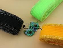 Free Shipping 7cm mesh ripple & sliver Wire Plain Veil Fascinator Horsehair fabric mesh Braids 100yard/lot #31Color(China (Mainland))
