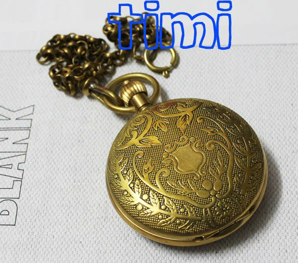Personalised Half Hunter 100% Brass Crop Plated Skeleton Pocket Mechanical Watch(China (Mainland))