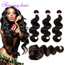 Indian Virgin Hair With Closure 7A Hot Body Wave With Closure 3 Bundles and Closure Virgin Indian Hair with Closure Rosa Hair