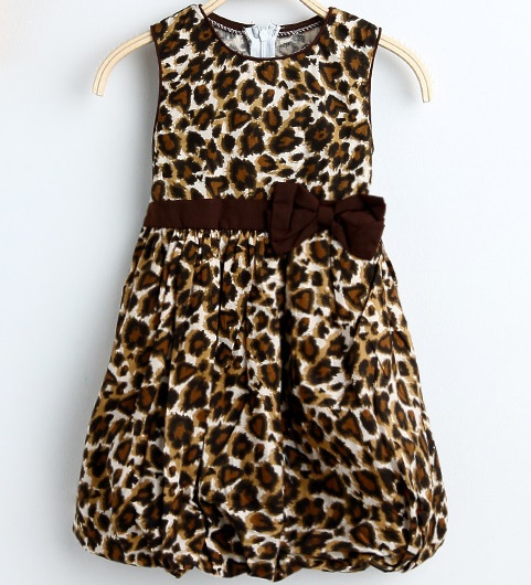 Summer Girl Dress 2 Layers Leopard Print Cotton Lantern Bow Tank Sundress Party Birthday Baby Children Clothes Size 2-10(China (Mainland))